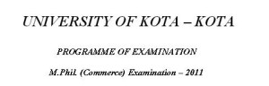 Kota University M.Phil. Commerce 2013 Timetable