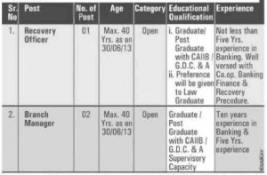 Navodaya Urban Co-operative Bank Nagpur Recruitment 2013